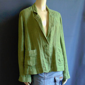 Eileen Fisher Grass Green Linen Jacket XL